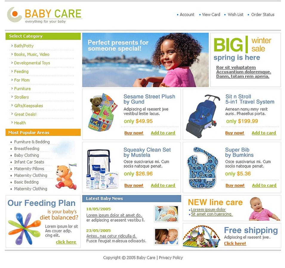 Baby Store SWiSH Template