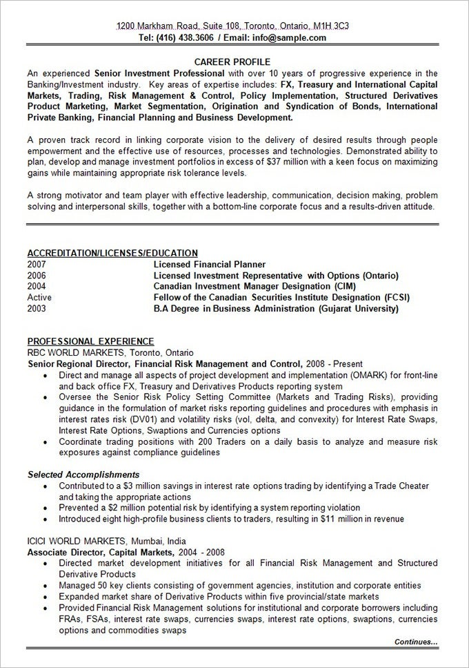 banking investment resume format template free download