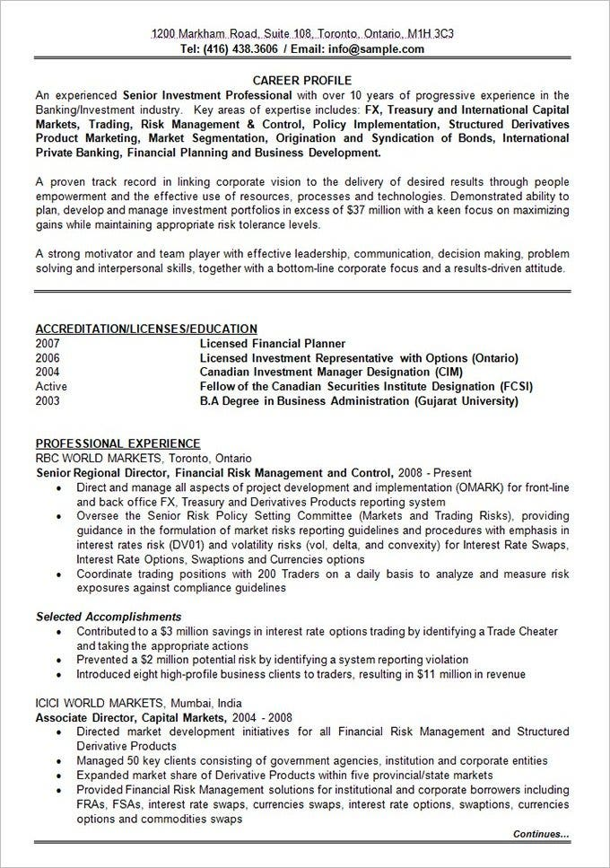 banking investment resume format template