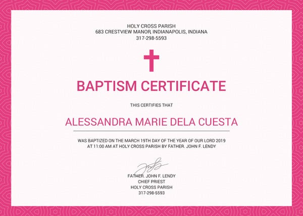 77 creative custom certificate design templates free for Baptism certificate template pdf