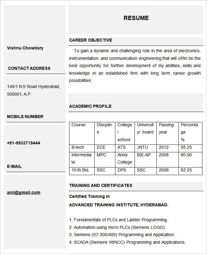 basic beautiful resume template