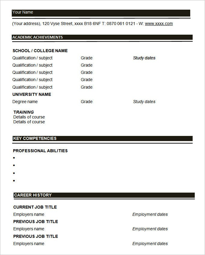 download blank resumes