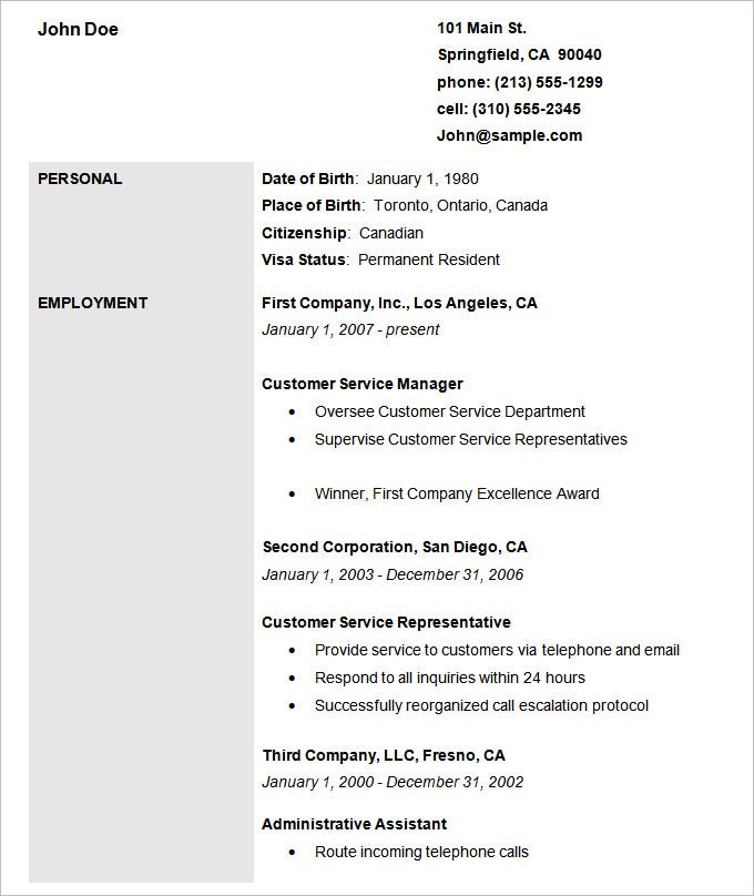 basic employment resume template