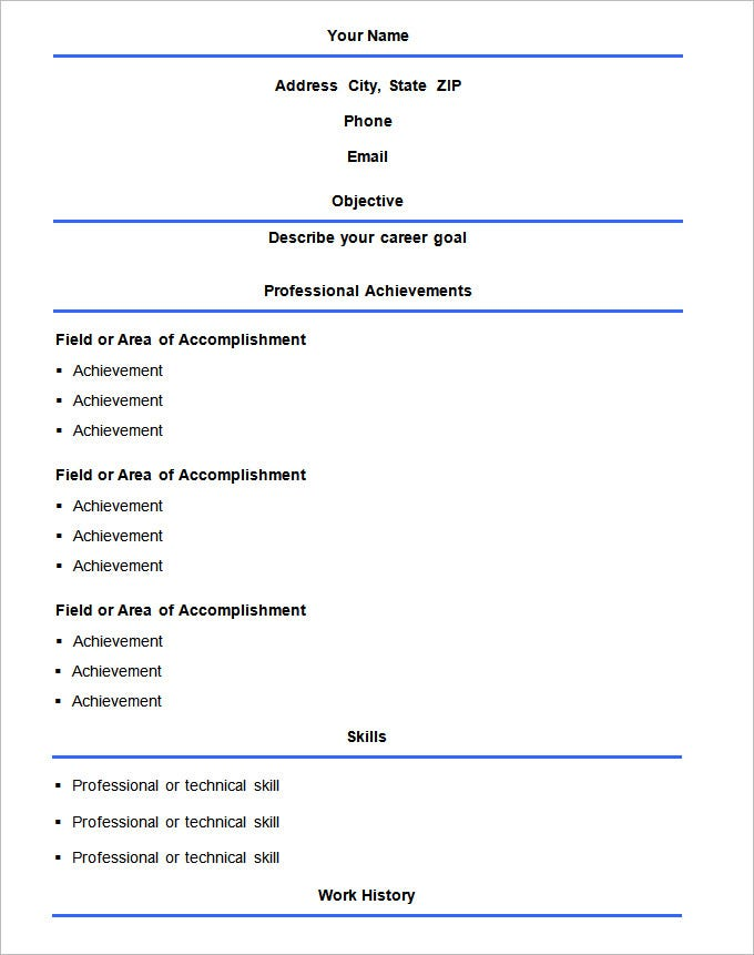 basic format resume template free download