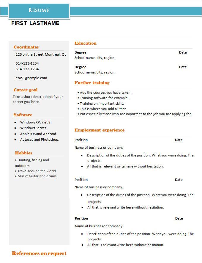 example of basic resume
