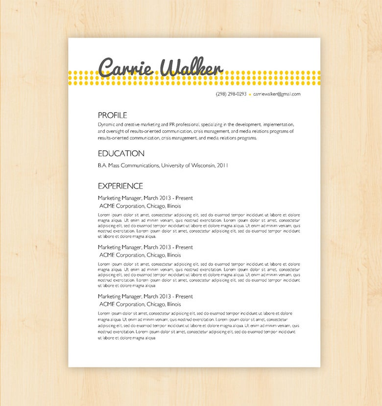 Basic Resume Template From Etsy  Word Template Resume
