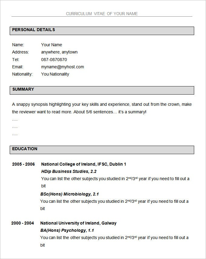 basic resume template free download wordpad microsoft word 2003