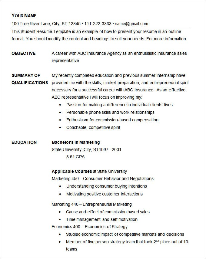 Basic Resume Template Example. Free Download