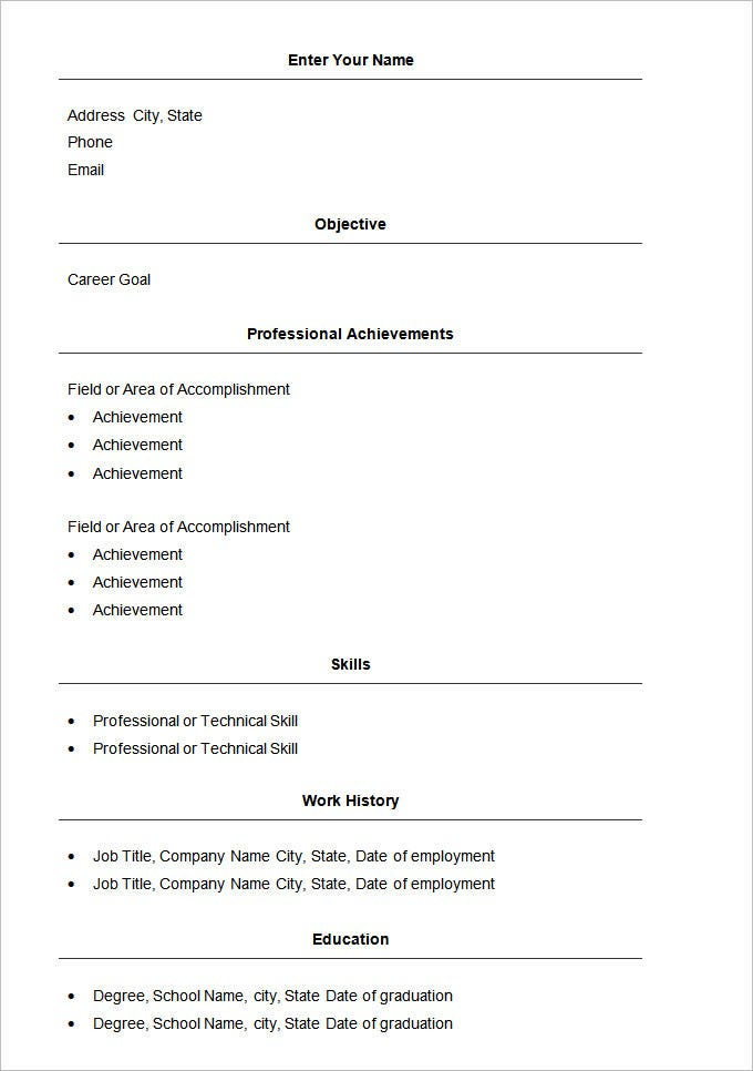 basic resume template word format free download