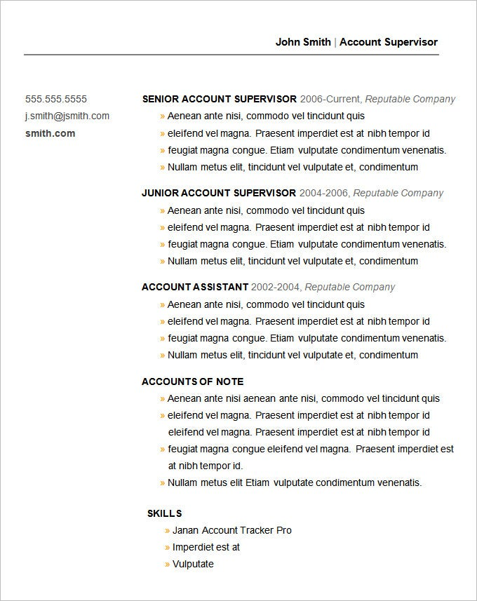 basic resume template for account supervisor