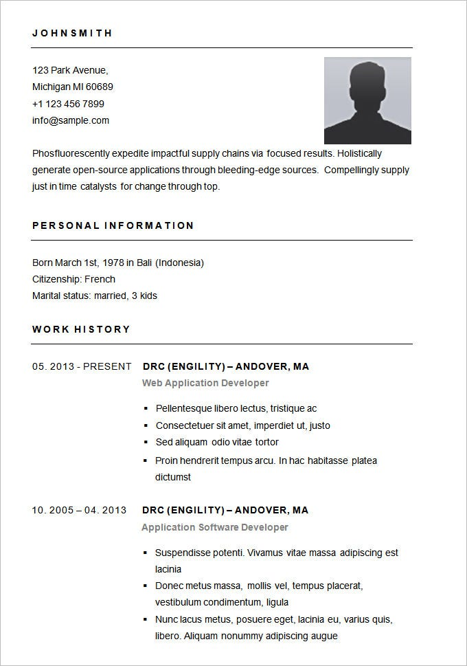 basic resume template for app developer free download