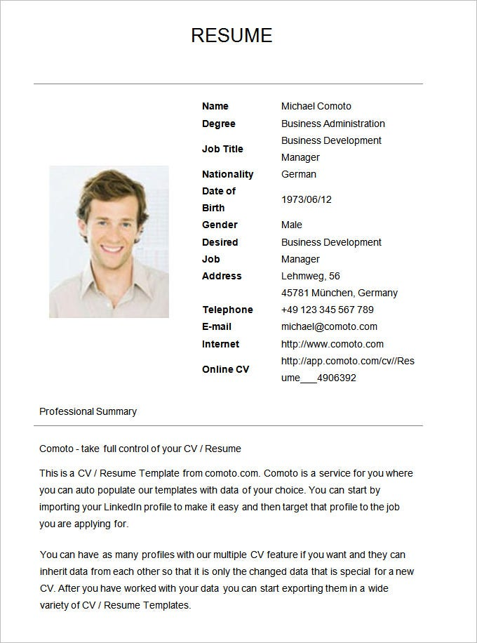 Basic Resume Template For Business Development Manager. Free Download  Resume Sample Download