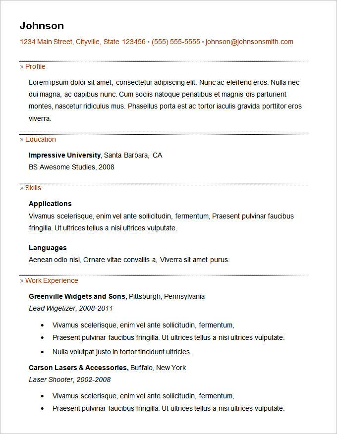basic resume template for freshers