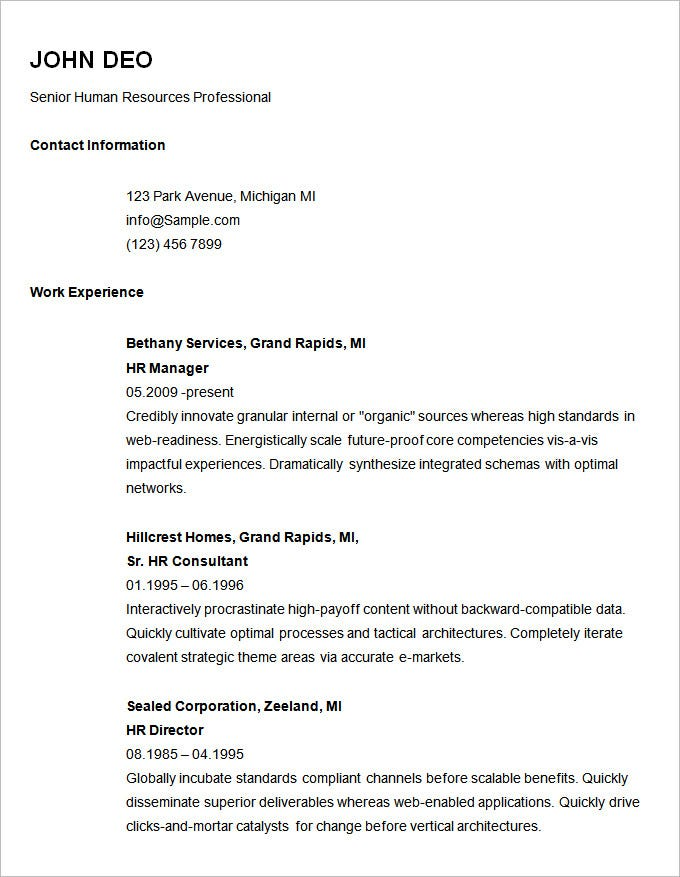 Basic Resume Template For Senior HR Professional. Free Download  Resume Sample Download