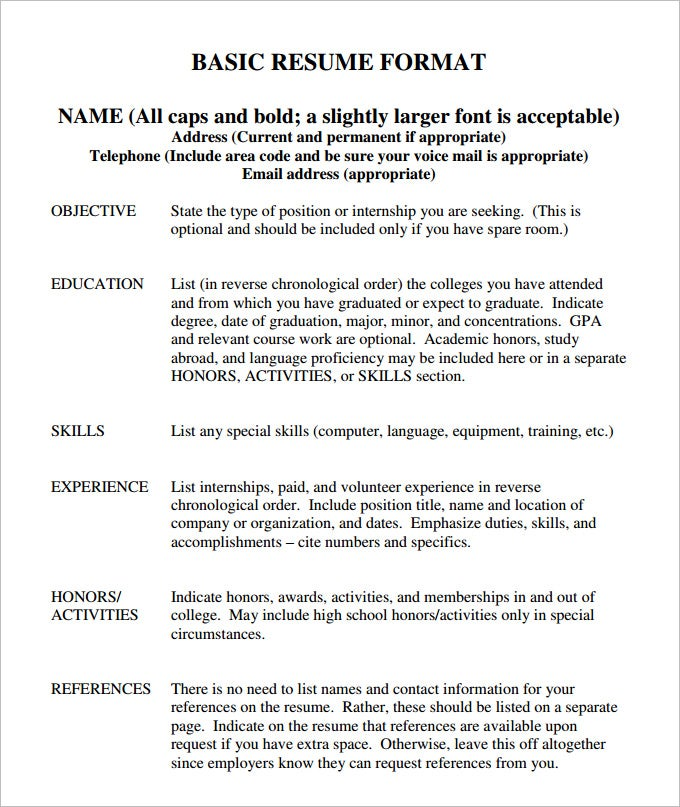 Basic Resume Formats. Resume Example, Printable Blank Resume