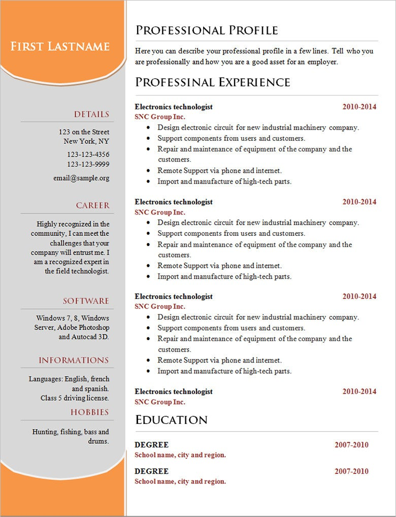 basic resume template for professional free download - Free Download Resume Samples