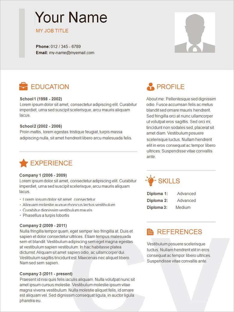 Word Template Resume. Cv Word Template Uk Template Professional Cv ...