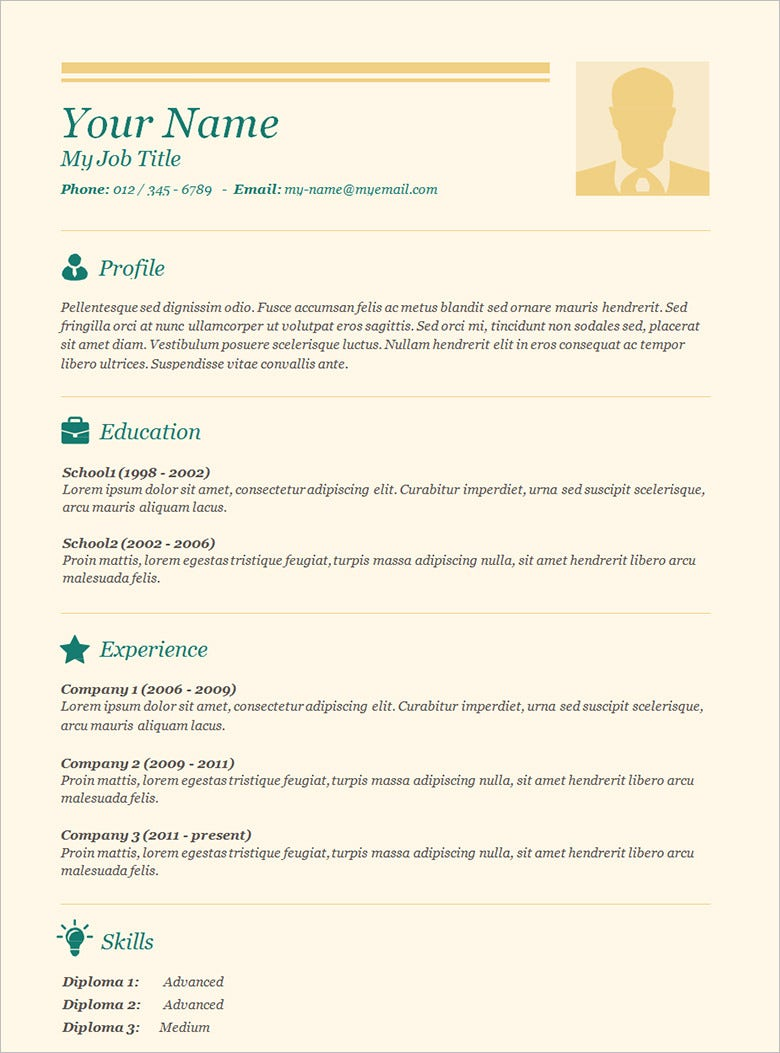70 basic resume templates pdf doc psd free for Resmue templates