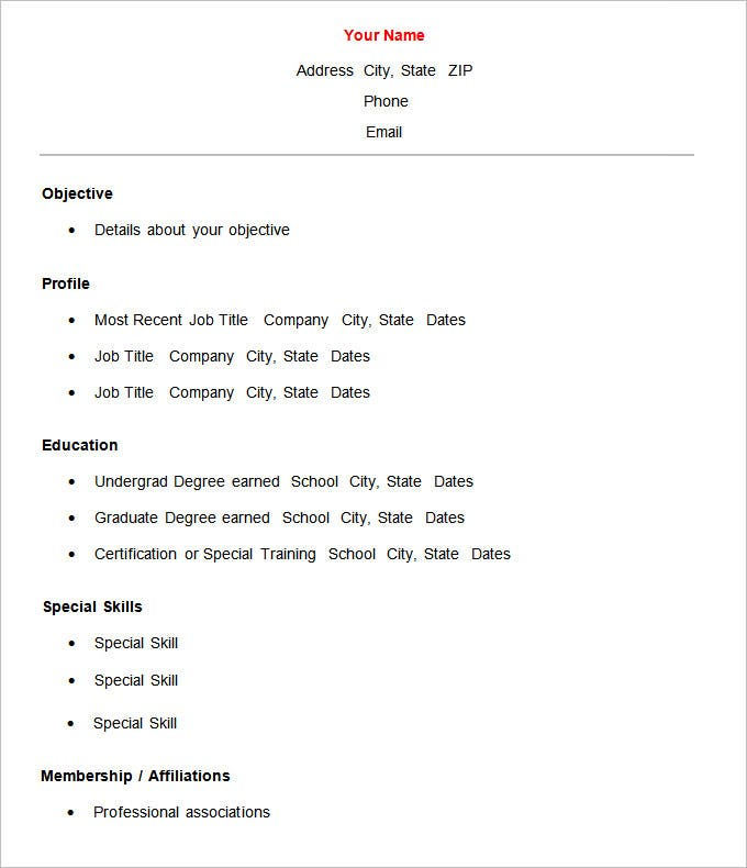 Basic Resume Template 51 Free Samples Examples Format – Free Job Resume Template