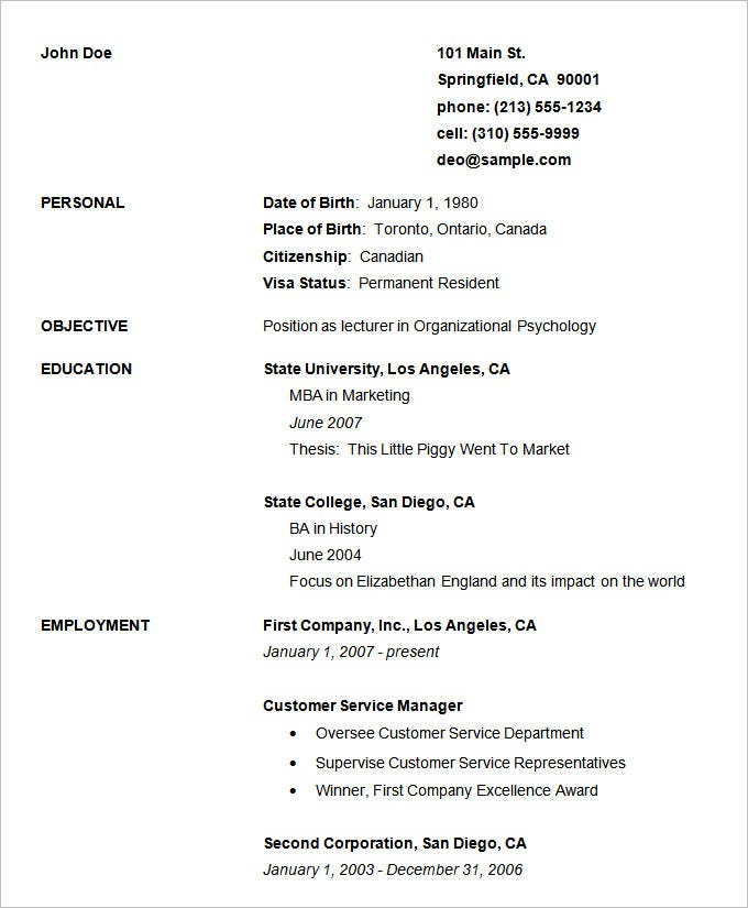 Basic Resumes Template For Freshers