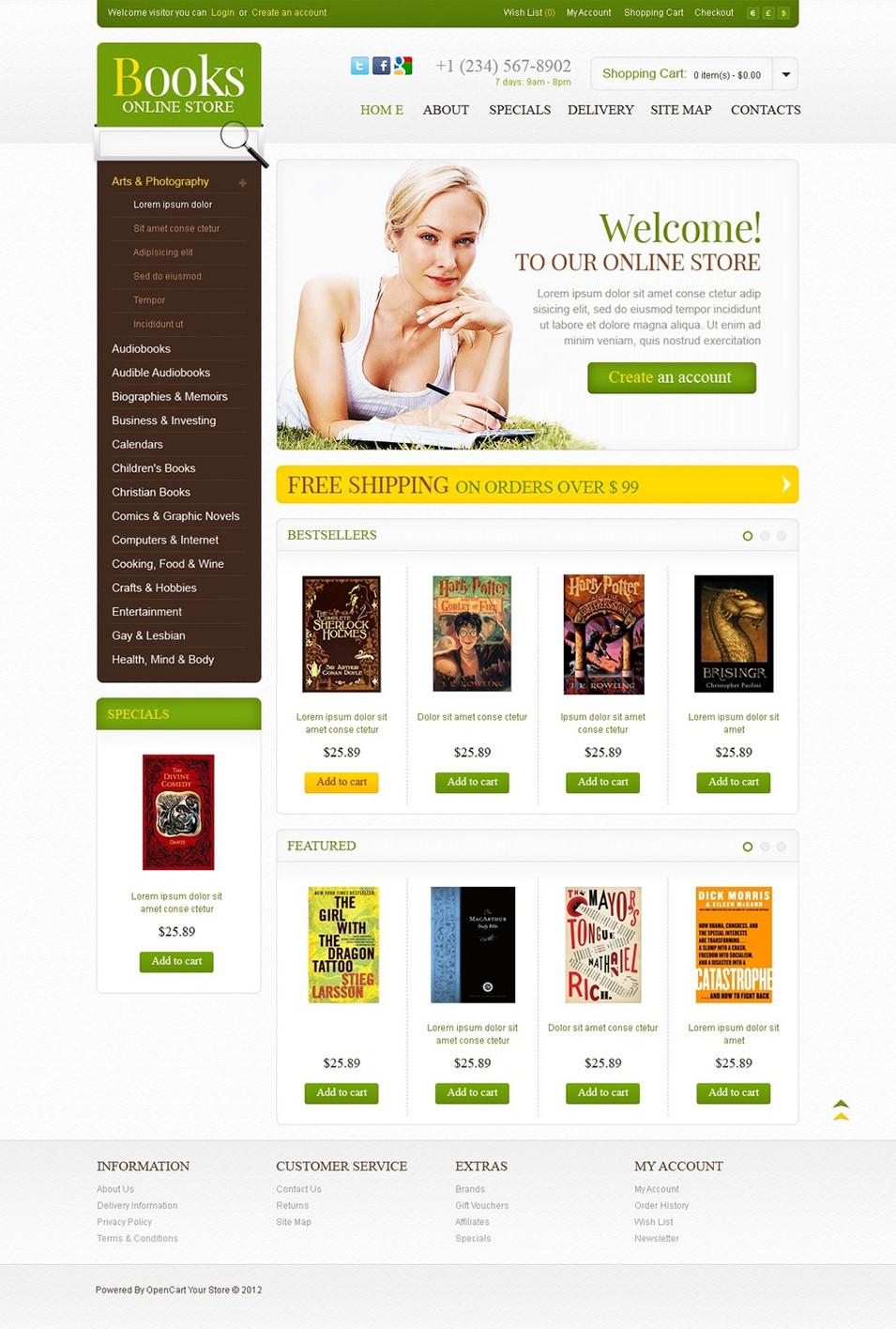 bookstore open cart website templates  u0026 themes