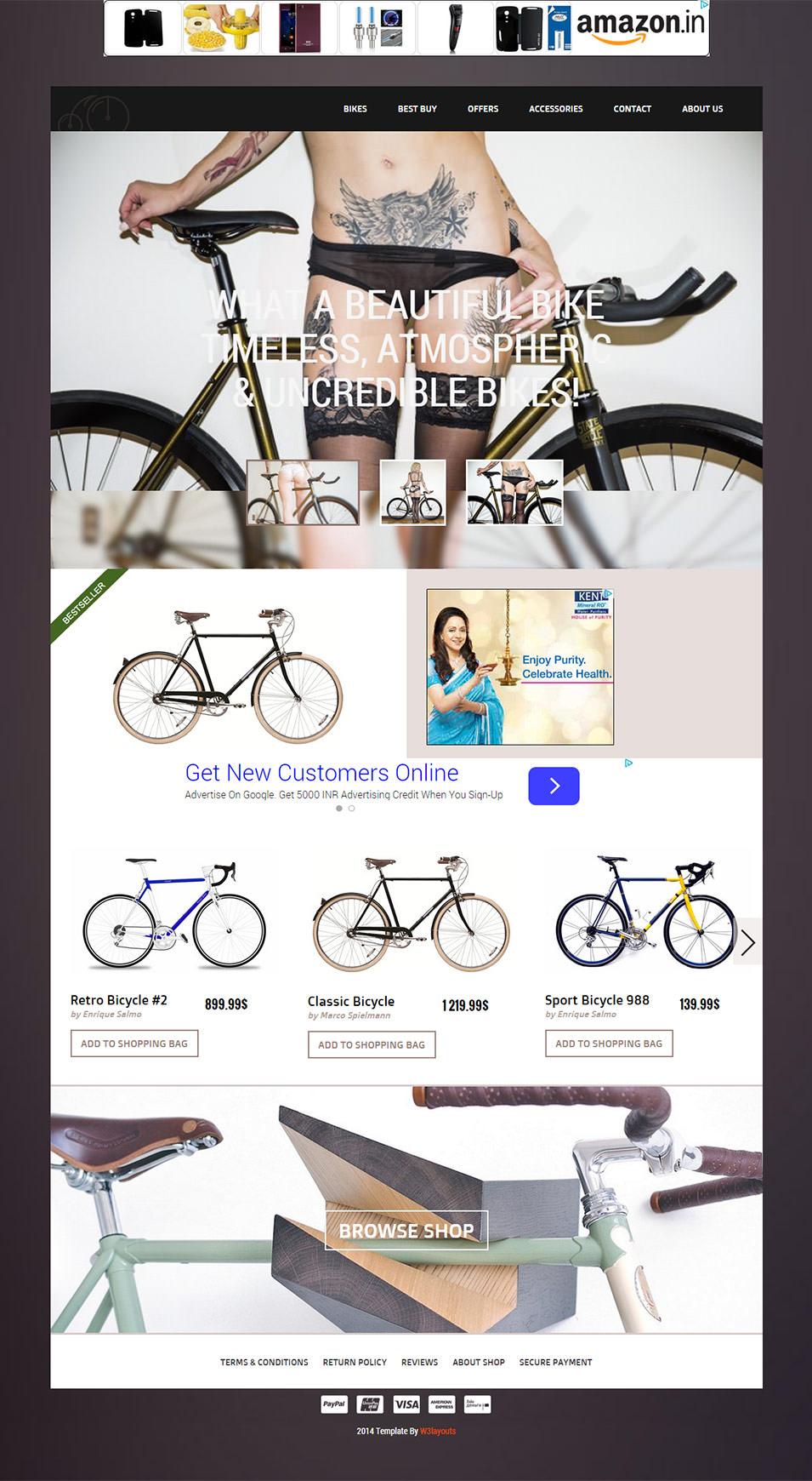 bicycle shop css3 theme