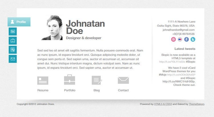 free html resume website templates web page template biopic personal download