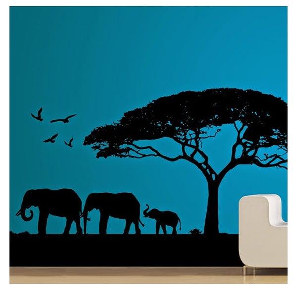 black morning tree elephants wall sticker