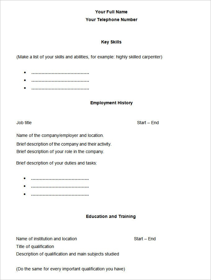 Basic Chronological Printable Fill Blank Resume Templates Free – Blank Resume Templates