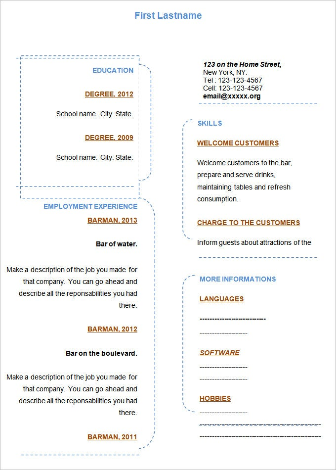 blank resume template word format - Blank Resume Template Word