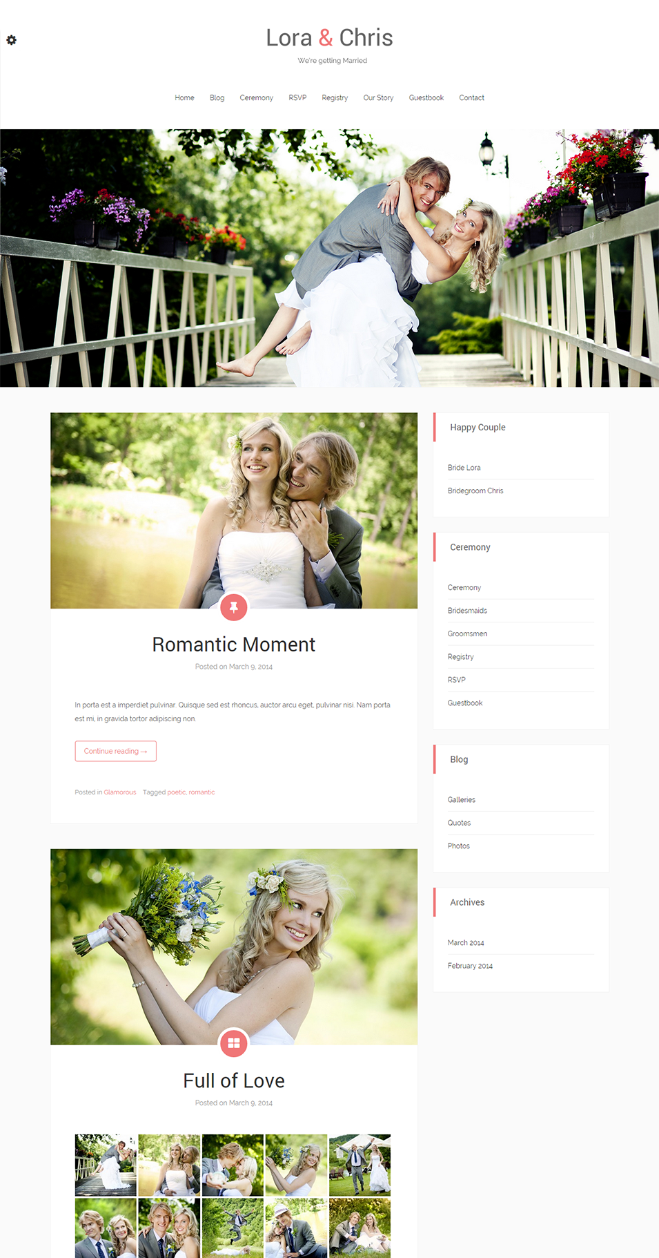 blog match wedding wordpress theme