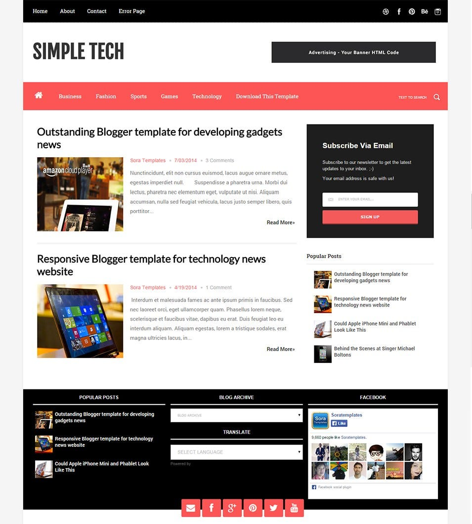 blogger template simpletech