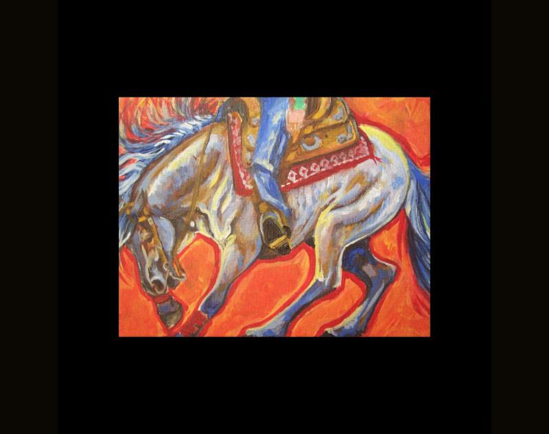 blue roan reining horse canvas print