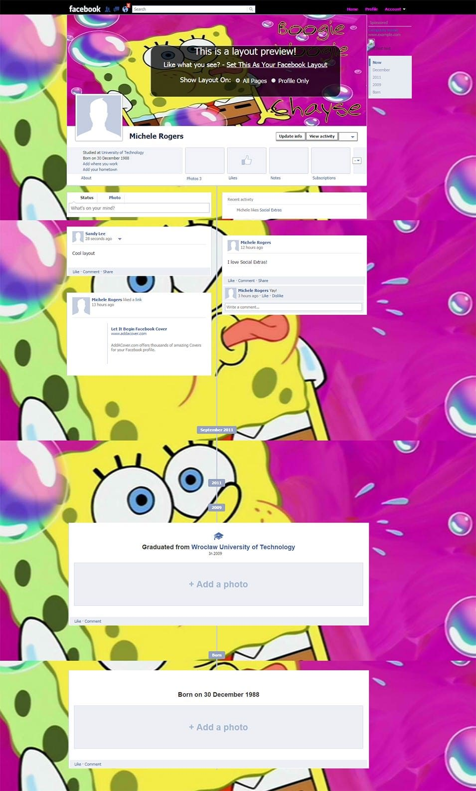 boogie the woogie facebook layout preview