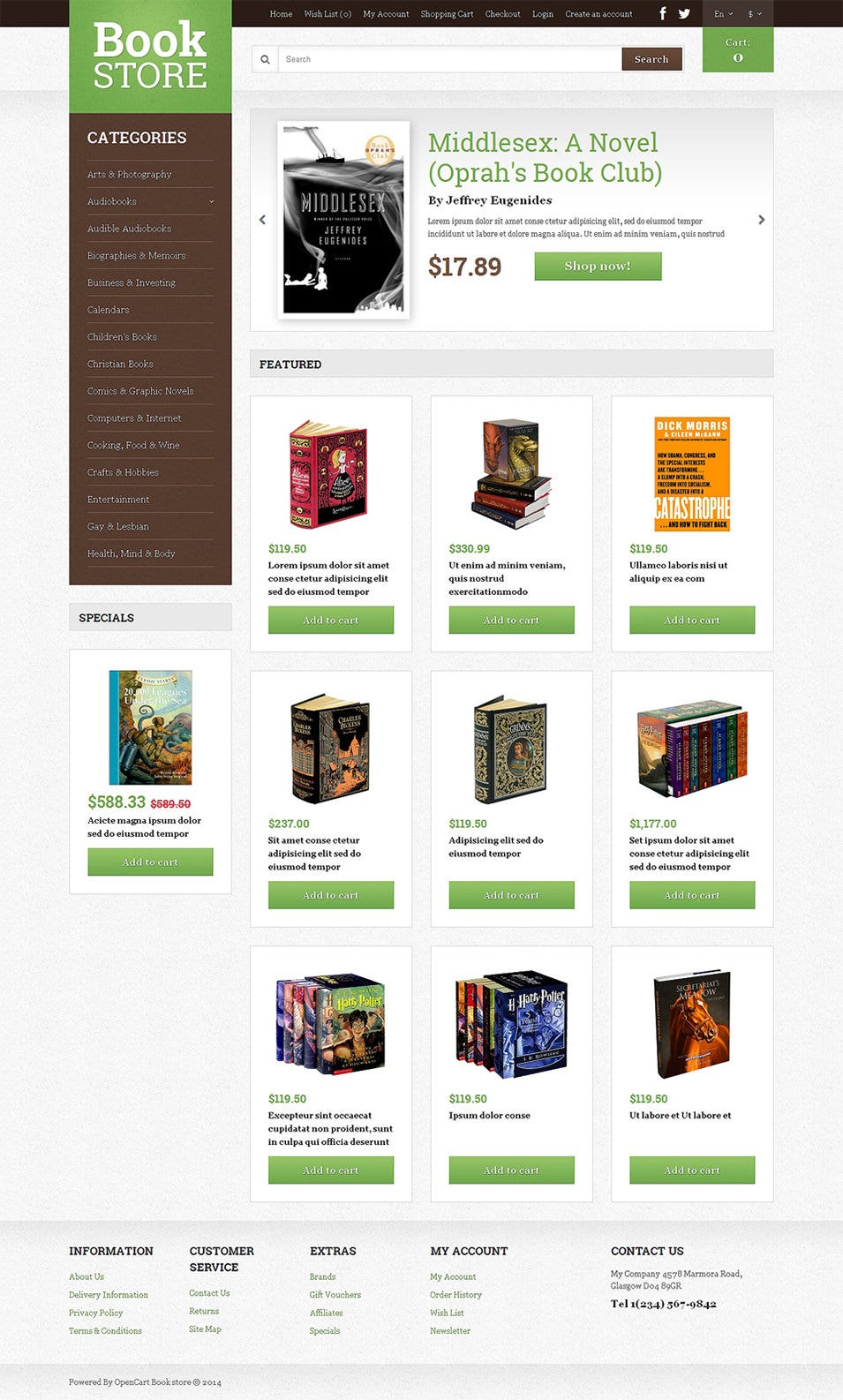 opencart bookstore template bookstore open cart website templates themes free