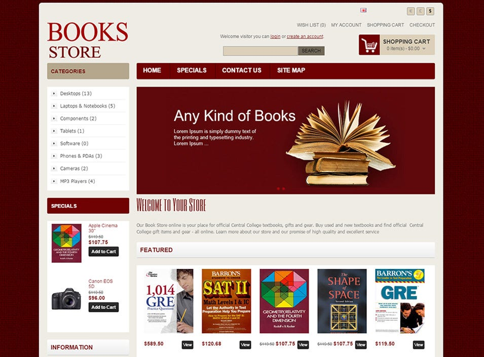 bookstore open cart website templates themes free premium