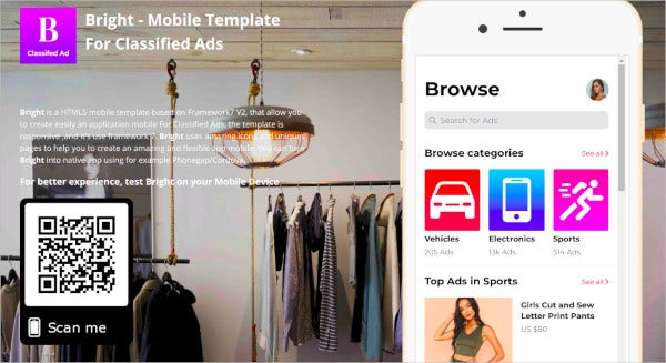 bright mobile template for classified ads