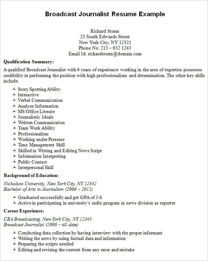 Journalism Resume Samples] Great Way Present Yourself This Staff