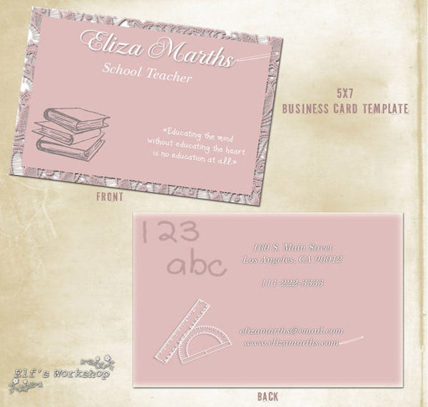 Business cards for teachers 48 free psd format download free business card for teachers reheart Choice Image
