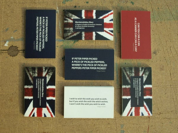 business cards for english teacher