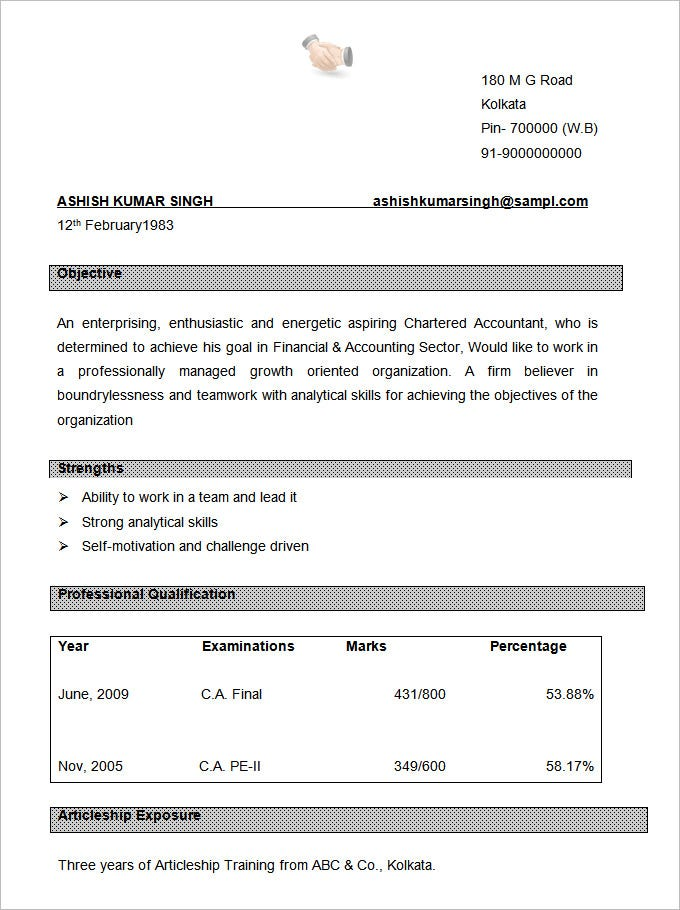 CA Resume Format Template. Free Download
