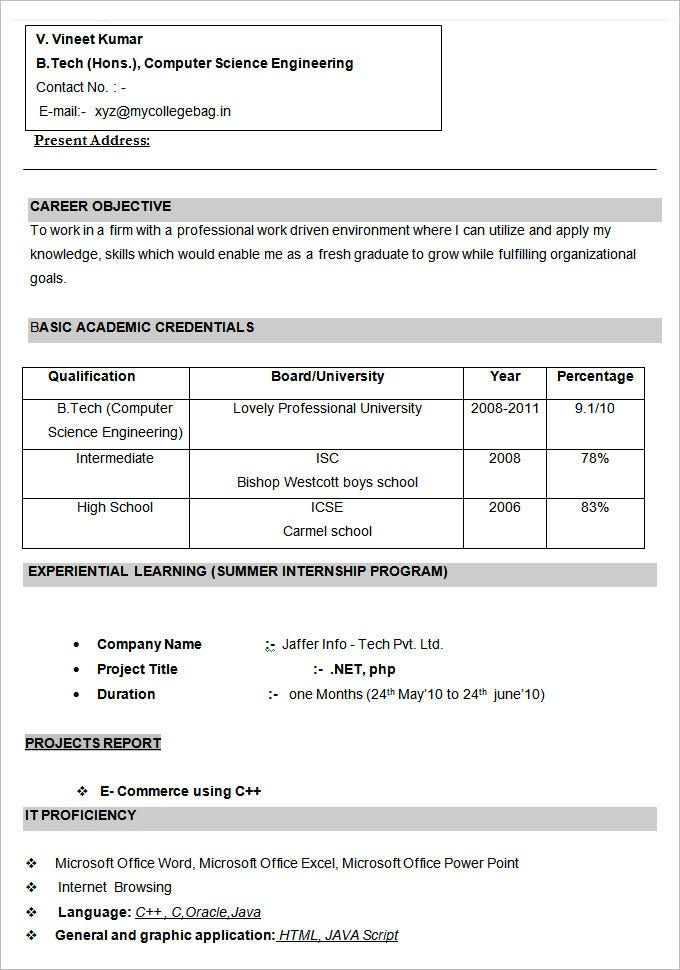 cse engineer cv format template