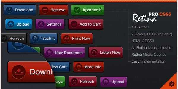 CSS3 Retina Business Pro 2 Button Set