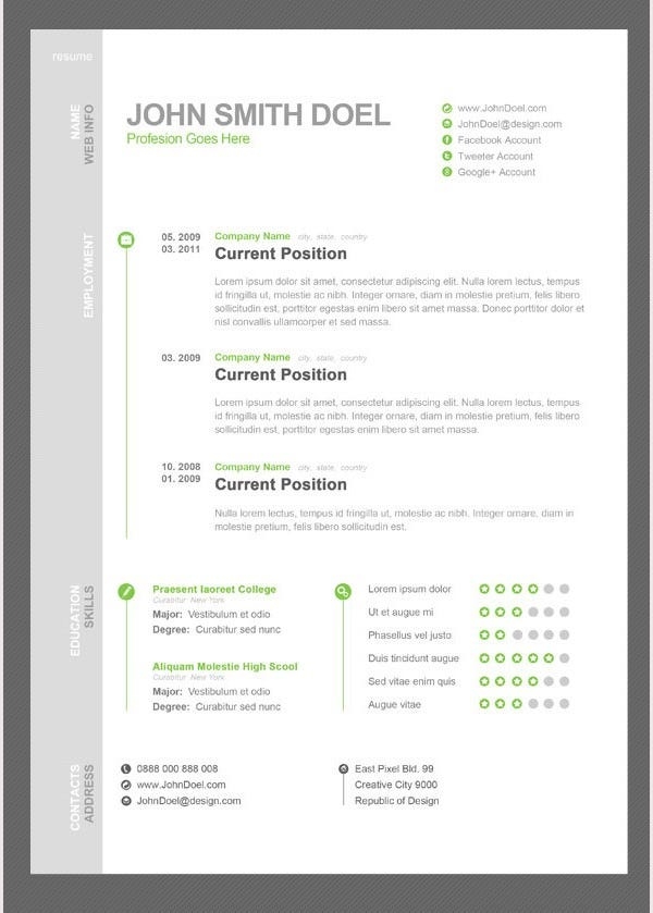 psd resume template psd documents download