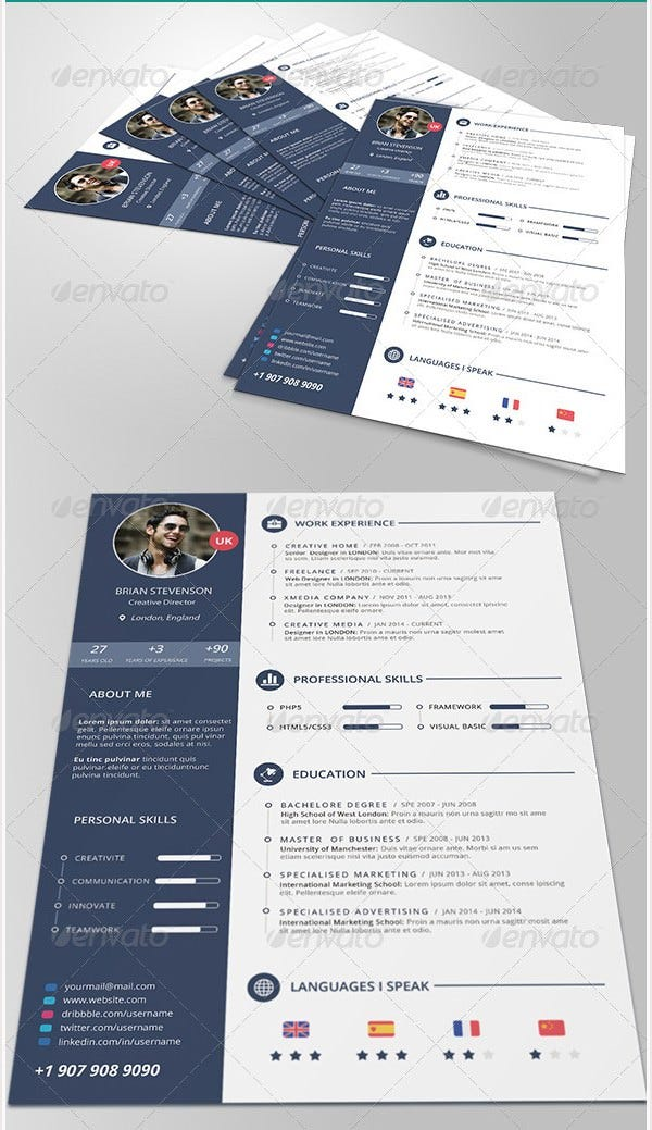 Psd resume template 51 free samples examples format download cv yelopaper