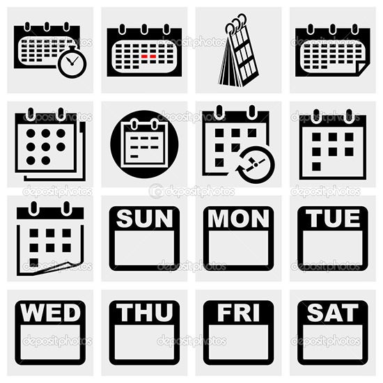 calendar vector icons set