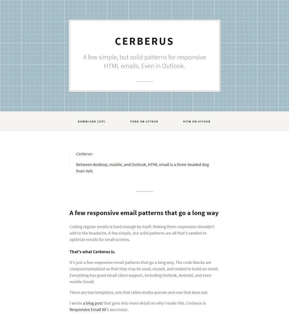 cerberus responsive email patterns