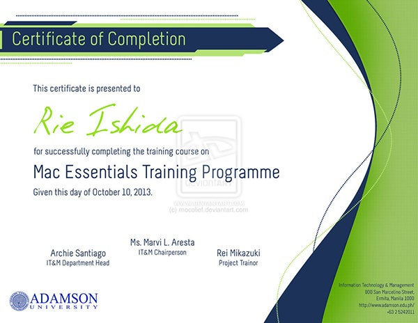Certificate of Completion Design