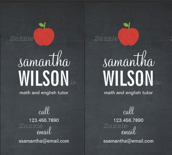Business cards for teachers 48 free psd format download free chalkboard apple teacher business card fbccfo Images