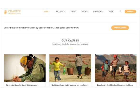charity non profit fundrising wp theme